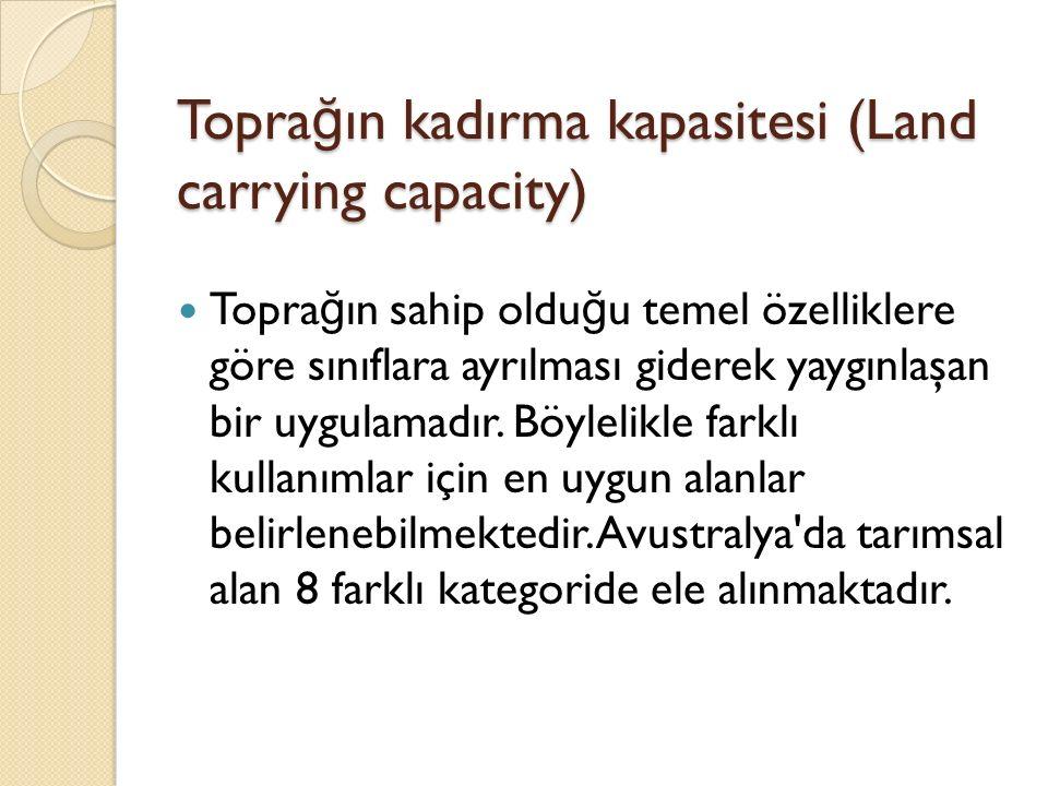 Topra ğ ın kadırma kapasitesi (Land carrying capacity) Topra ğ ın sahip oldu ğ u temel özelliklere göre sınıflara ayrılması giderek yaygınlaşan bir uygulamadır.
