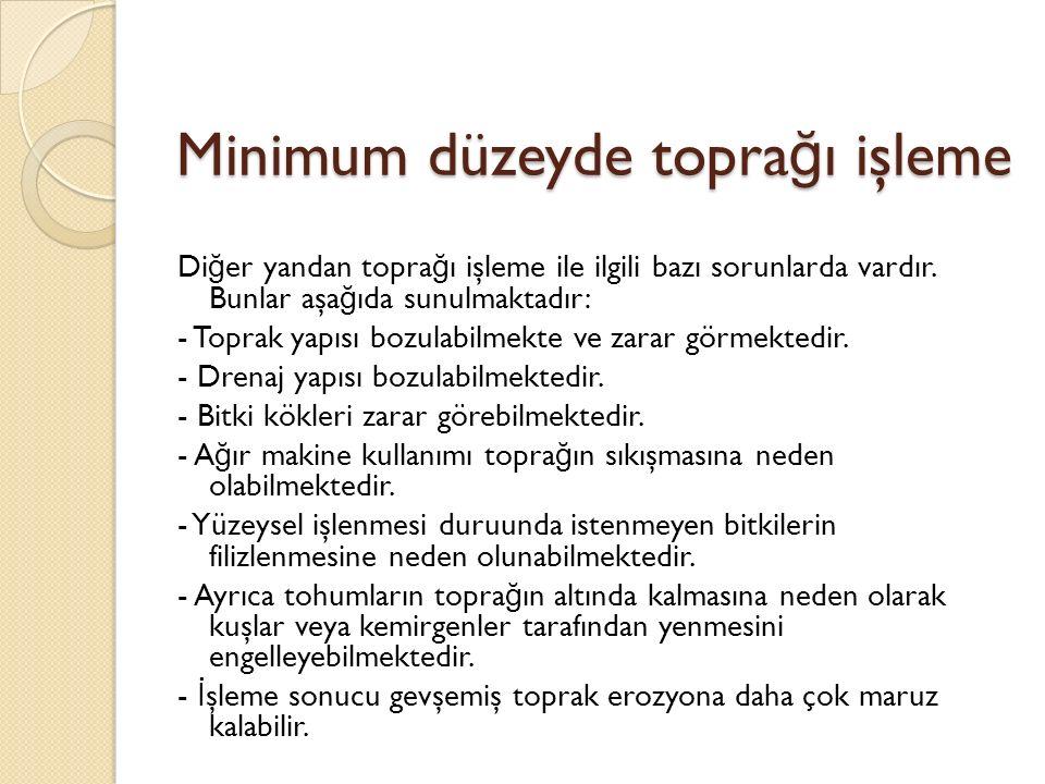 Minimum düzeyde topra ğ ı işleme Di ğ er yandan topra ğ ı işleme ile ilgili bazı sorunlarda vardır.