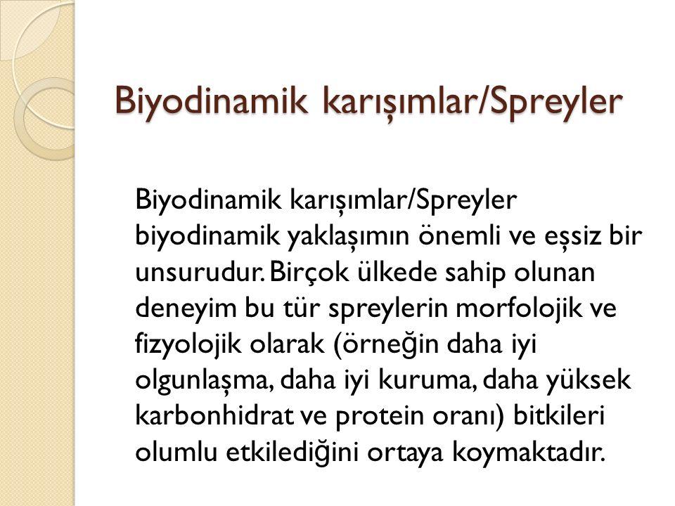 Biyodinamik karışımlar/Spreyler Biyodinamik karışımlar/Spreyler biyodinamik yaklaşımın önemli ve eşsiz bir unsurudur.