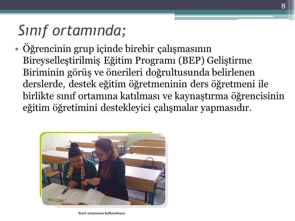 1.Kaynaştırma öğrencisi bulunan okullarda BEP geliştirme birimi oluşturulur.
