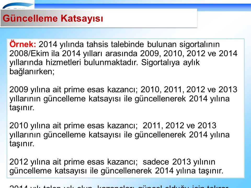 Örnek: 2014 yılında tahsis talebinde bulunan sigortalının 2008/Ekim ila 2014 yılları arasında 2009, 2010, 2012 ve 2014 yıllarında hizmetleri bulunmaktadır.