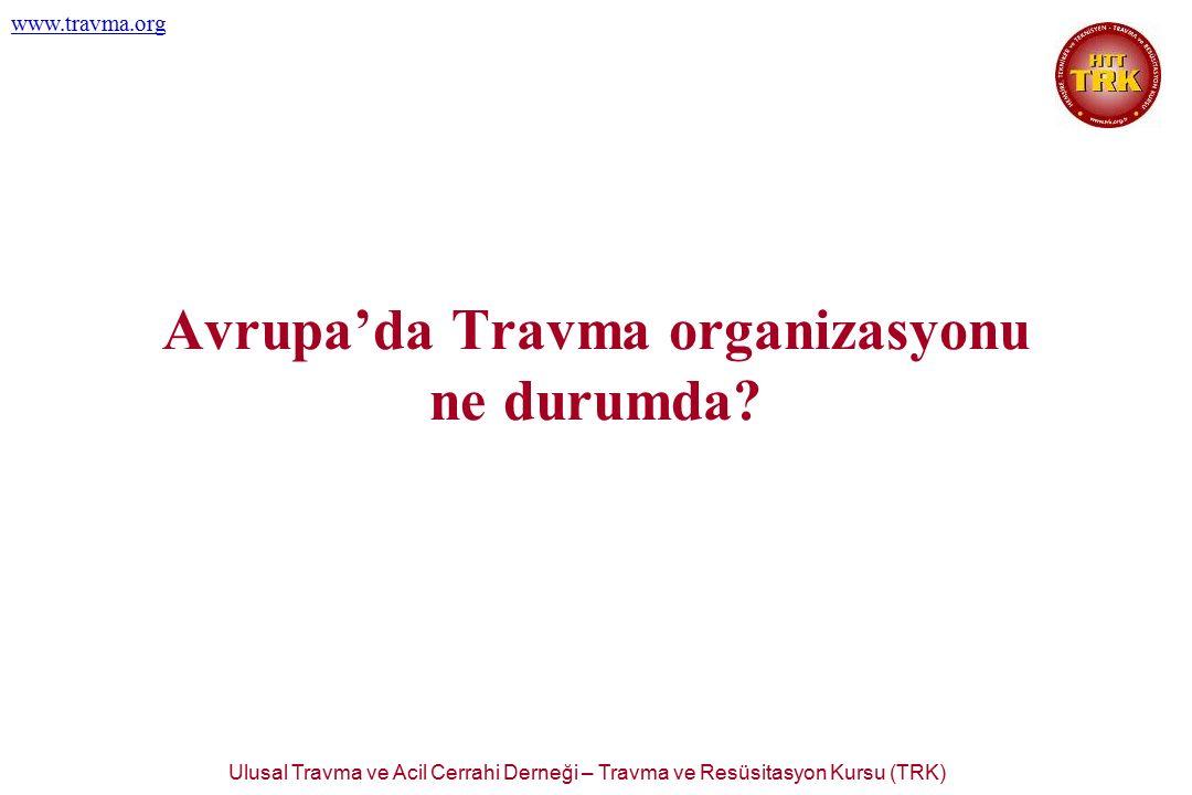 Ulusal Travma ve Acil Cerrahi Derneği – Travma ve Resüsitasyon Kursu (TRK) www.travma.org Avrupa'da Travma organizasyonu ne durumda?