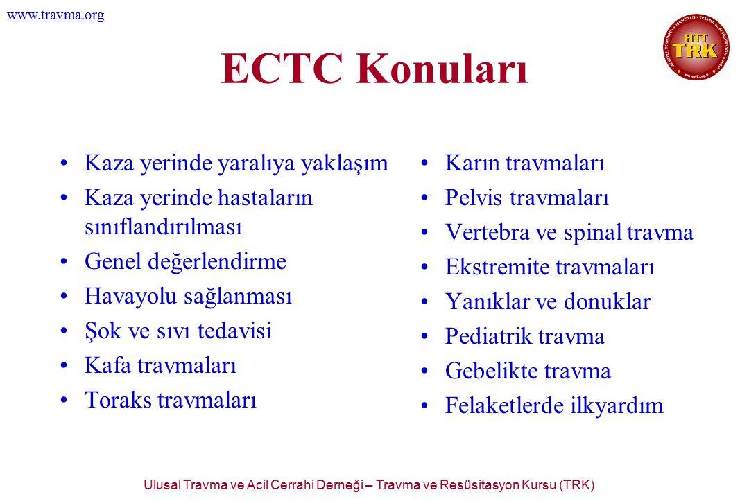 Ulusal Travma ve Acil Cerrahi Derneği – Travma ve Resüsitasyon Kursu (TRK) www.travma.org ECTC Konuları Kaza yerinde yaralıya yaklaşım Kaza yerinde ha