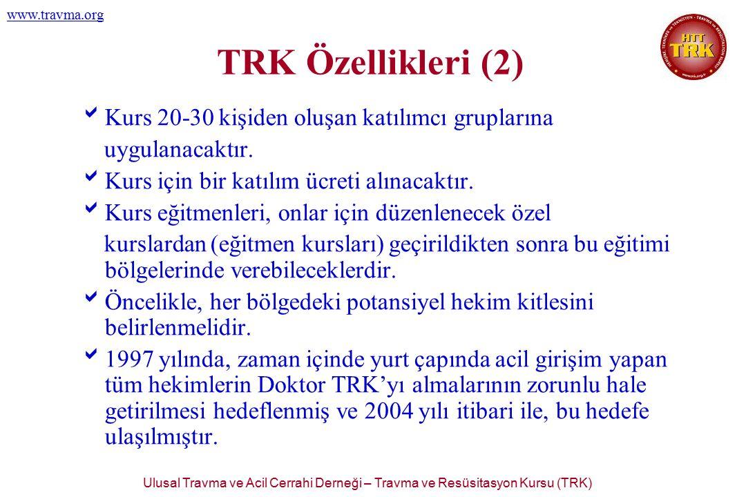 Ulusal Travma ve Acil Cerrahi Derneği – Travma ve Resüsitasyon Kursu (TRK) www.travma.org TRK Özellikleri (2)  Kurs 20-30 kişiden oluşan katılımcı gr