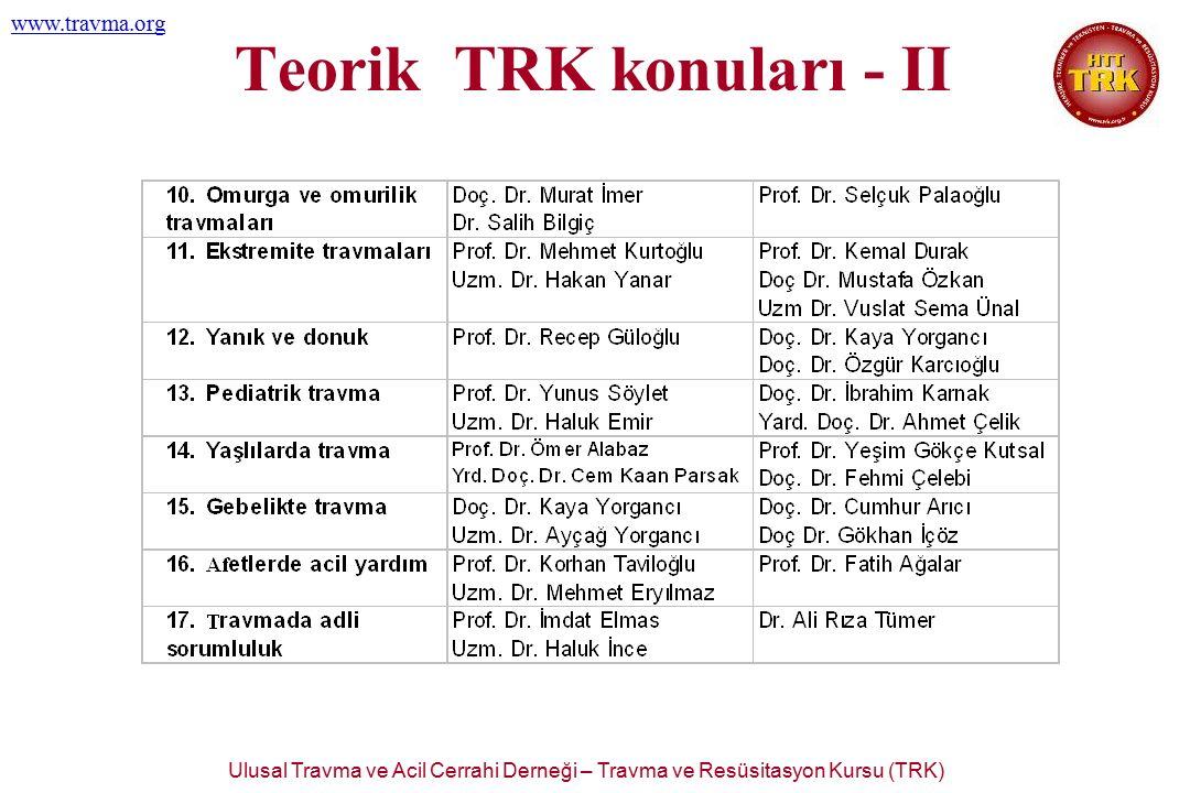 Ulusal Travma ve Acil Cerrahi Derneği – Travma ve Resüsitasyon Kursu (TRK) www.travma.org Teorik TRK konuları - II