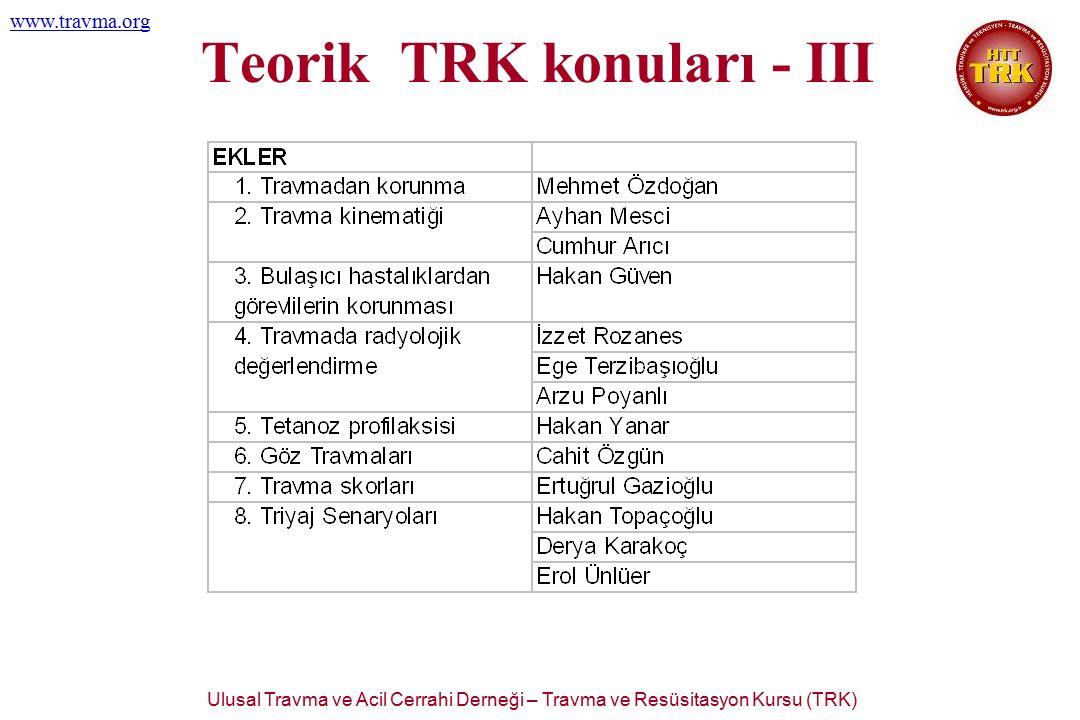 Ulusal Travma ve Acil Cerrahi Derneği – Travma ve Resüsitasyon Kursu (TRK) www.travma.org Teorik TRK konuları - III