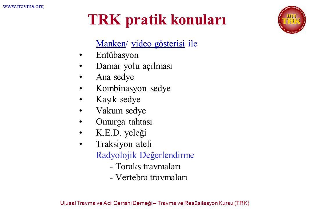 Ulusal Travma ve Acil Cerrahi Derneği – Travma ve Resüsitasyon Kursu (TRK) www.travma.org TRK pratik konuları Manken/ video gösterisi ile Entübasyon D