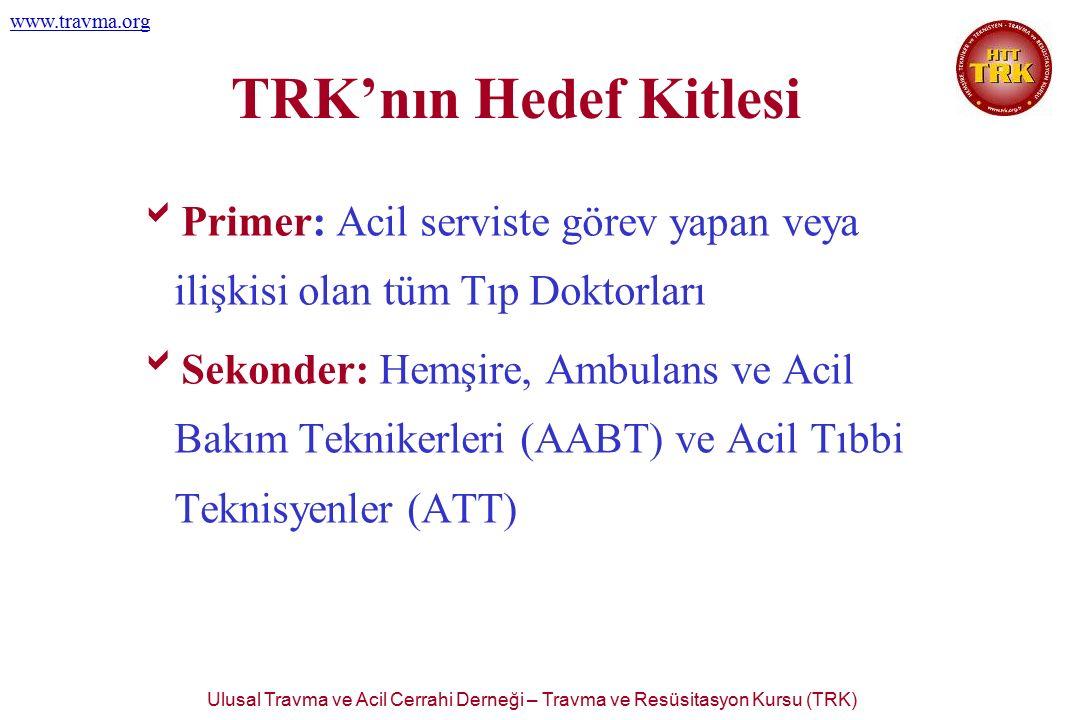Ulusal Travma ve Acil Cerrahi Derneği – Travma ve Resüsitasyon Kursu (TRK) www.travma.org TRK'nın Hedef Kitlesi  Primer: Acil serviste görev yapan ve