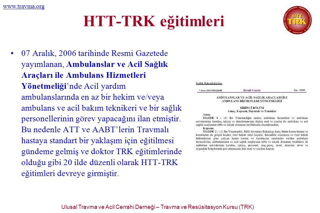 Ulusal Travma ve Acil Cerrahi Derneği – Travma ve Resüsitasyon Kursu (TRK) www.travma.org 07 Aralık, 2006 tarihinde Resmi Gazetede yayımlanan, Ambulan