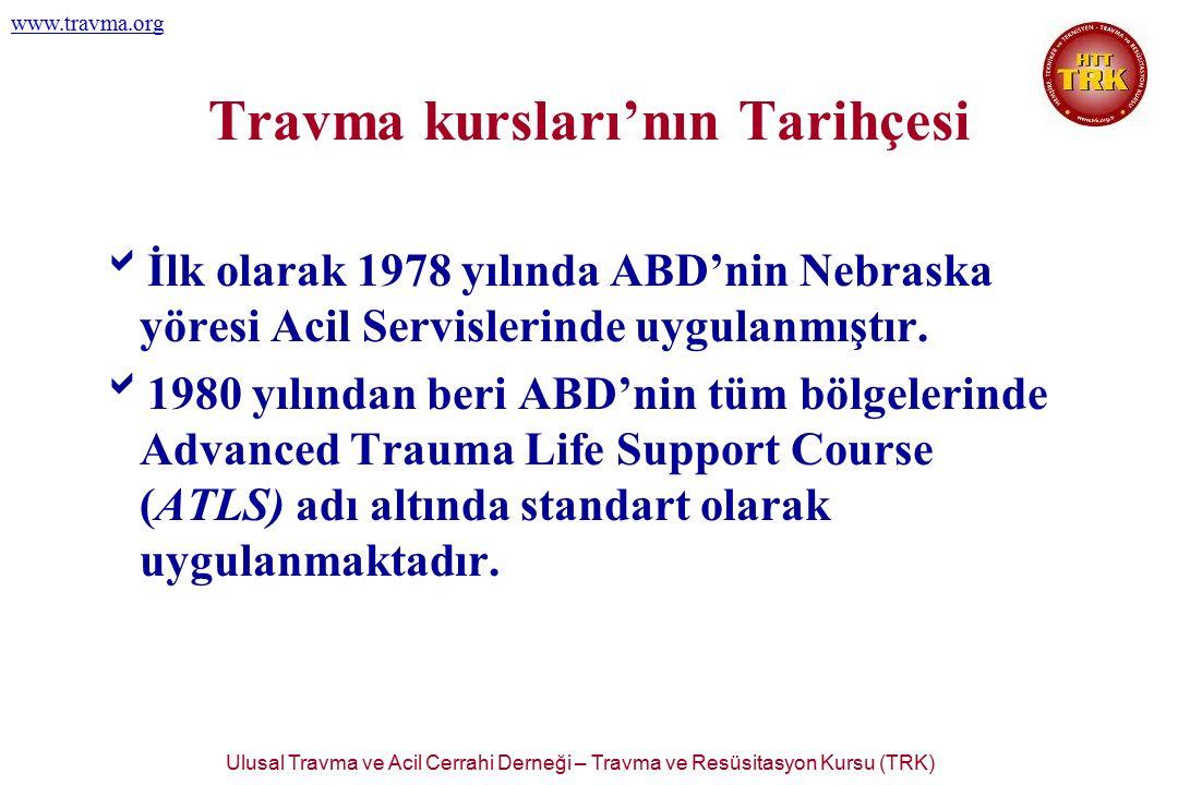 Ulusal Travma ve Acil Cerrahi Derneği – Travma ve Resüsitasyon Kursu (TRK) www.travma.org 2.