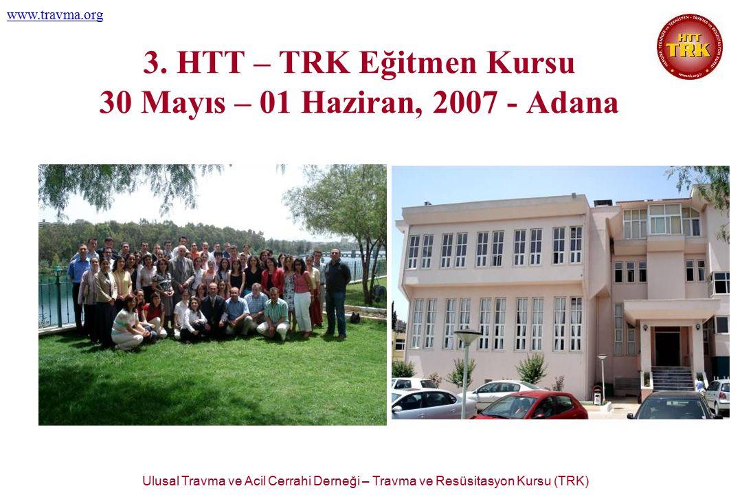 Ulusal Travma ve Acil Cerrahi Derneği – Travma ve Resüsitasyon Kursu (TRK) www.travma.org 3. HTT – TRK Eğitmen Kursu 30 Mayıs – 01 Haziran, 2007 - Ada