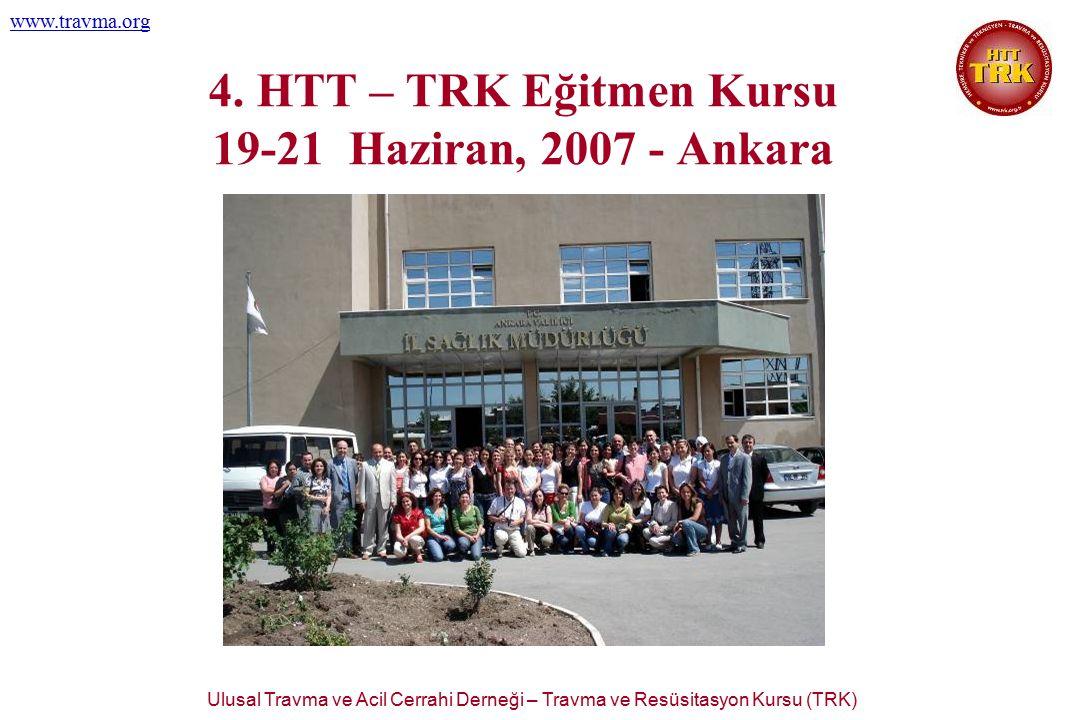 Ulusal Travma ve Acil Cerrahi Derneği – Travma ve Resüsitasyon Kursu (TRK) www.travma.org 4. HTT – TRK Eğitmen Kursu 19-21 Haziran, 2007 - Ankara