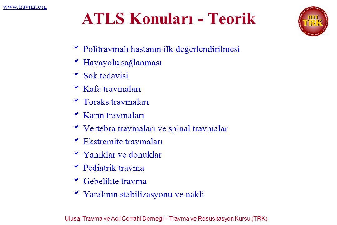 Ulusal Travma ve Acil Cerrahi Derneği – Travma ve Resüsitasyon Kursu (TRK) www.travma.org TRK -100 İstanbul İl Sağlık Müdürlüğü 21-24 Kasım, 2006