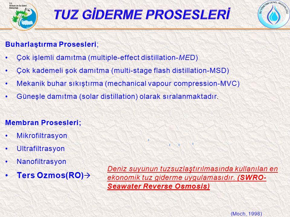Buharlaştırma Prosesleri; Çok işlemli damıtma (multiple-effect distillation-MED) Çok kademeli şok damıtma (multi-stage flash distillation-MSD) Mekanik