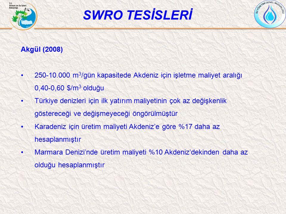 Akgül (2008) 250-10.000 m 3 /gün kapasitede Akdeniz için işletme maliyet aralığı 0,40-0,60 $/m 3 olduğu Türkiye denizleri için ilk yatırım maliyetinin
