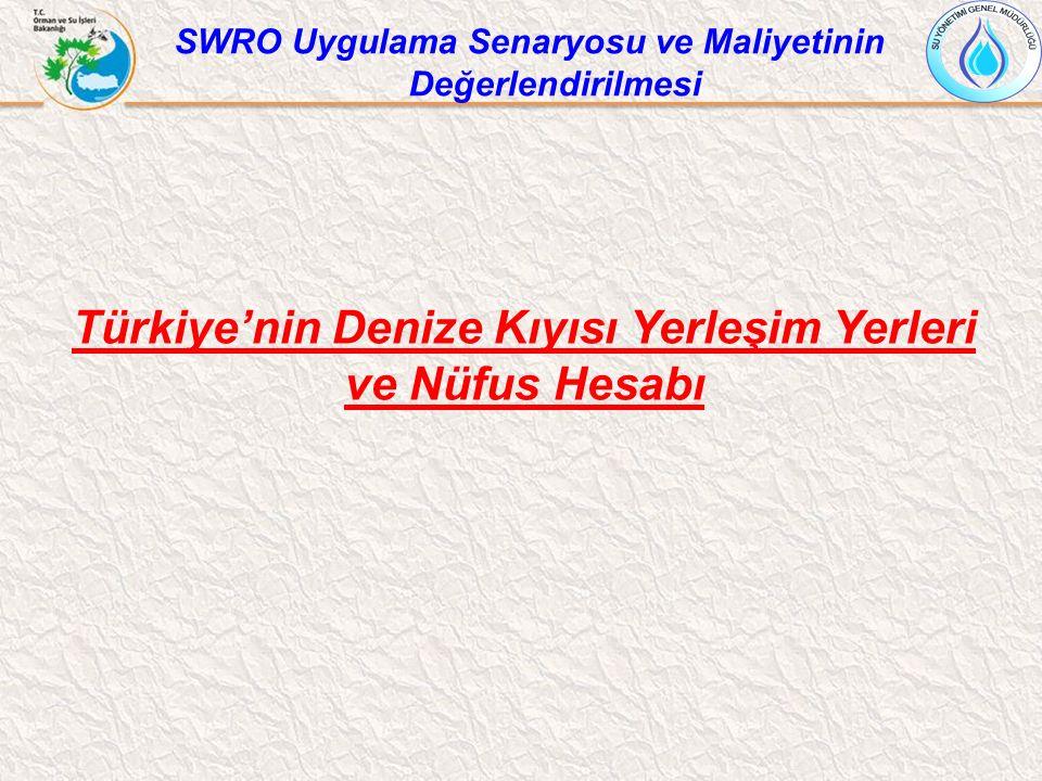 Türkiye'nin Denize Kıyısı Yerleşim Yerleri ve Nüfus Hesabı SWRO Uygulama Senaryosu ve Maliyetinin Değerlendirilmesi