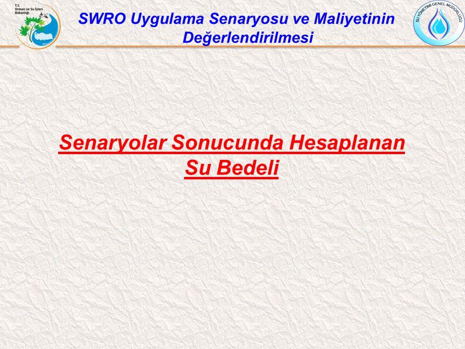 Senaryolar Sonucunda Hesaplanan Su Bedeli SWRO Uygulama Senaryosu ve Maliyetinin Değerlendirilmesi
