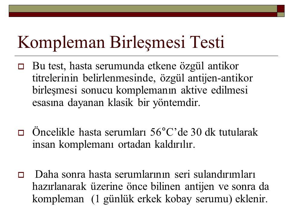 Kompleman Birleşmesi Testi  Bu test, hasta serumunda etkene özgül antikor titrelerinin belirlenmesinde, özgül antijen-antikor birleşmesi sonucu kompl
