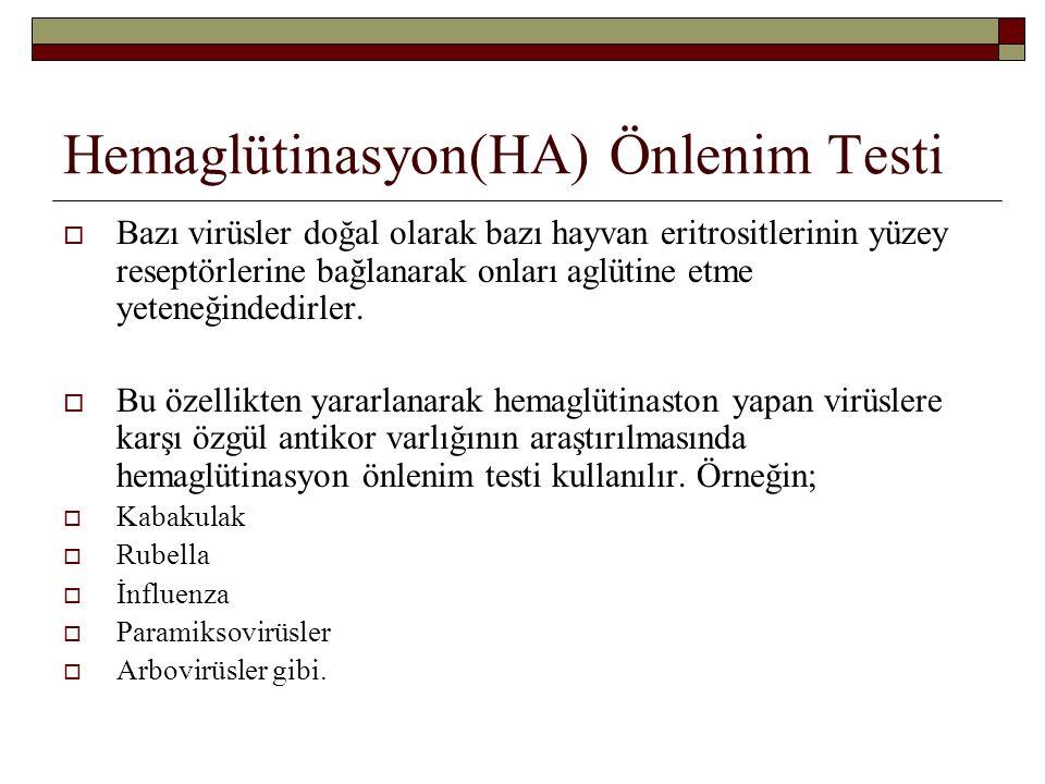 Hemaglütinasyon(HA) Önlenim Testi  Bazı virüsler doğal olarak bazı hayvan eritrositlerinin yüzey reseptörlerine bağlanarak onları aglütine etme yeten