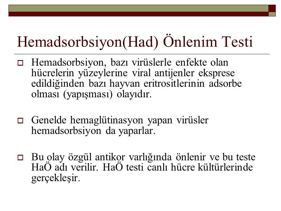 Hemadsorbsiyon(Had) Önlenim Testi  Hemadsorbsiyon, bazı virüslerle enfekte olan hücrelerin yüzeylerine viral antijenler eksprese edildiğinden bazı hayvan eritrositlerinin adsorbe olması (yapışması) olayıdır.
