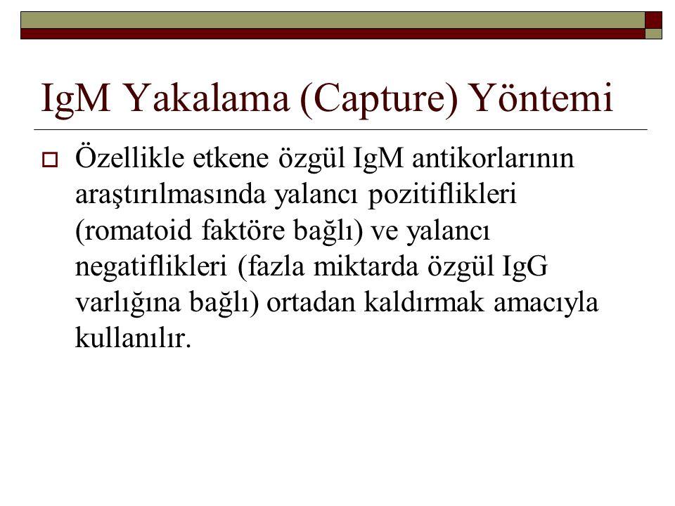 IgM Yakalama (Capture) Yöntemi  Özellikle etkene özgül IgM antikorlarının araştırılmasında yalancı pozitiflikleri (romatoid faktöre bağlı) ve yalancı