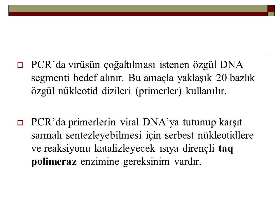  PCR'da virüsün çoğaltılması istenen özgül DNA segmenti hedef alınır. Bu amaçla yaklaşık 20 bazlık özgül nükleotid dizileri (primerler) kullanılır. 