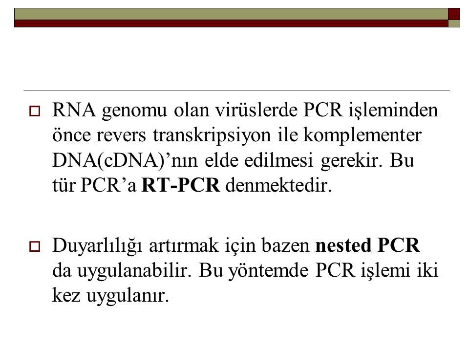  RNA genomu olan virüslerde PCR işleminden önce revers transkripsiyon ile komplementer DNA(cDNA)'nın elde edilmesi gerekir. Bu tür PCR'a RT-PCR denme