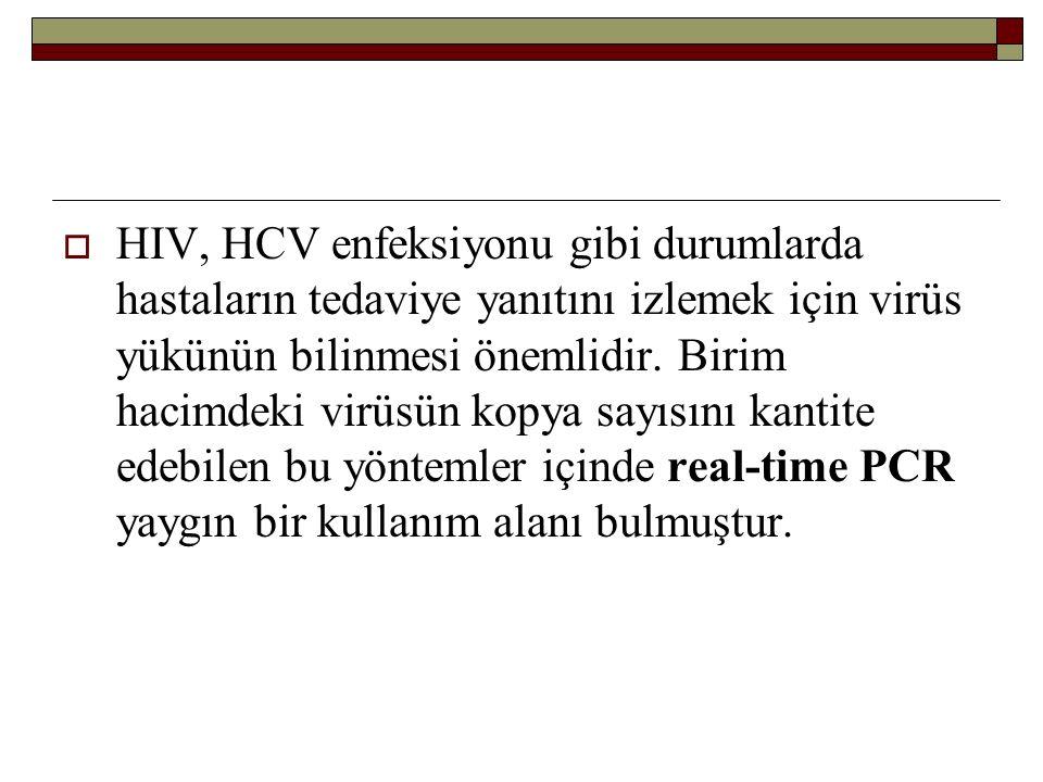  HIV, HCV enfeksiyonu gibi durumlarda hastaların tedaviye yanıtını izlemek için virüs yükünün bilinmesi önemlidir. Birim hacimdeki virüsün kopya sayı