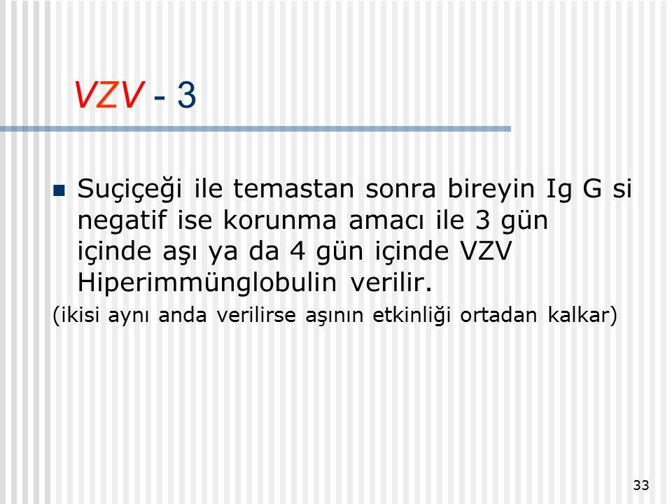 VZV - 3 Suçiçeği ile temastan sonra bireyin Ig G si negatif ise korunma amacı ile 3 gün içinde aşı ya da 4 gün içinde VZV Hiperimmünglobulin verilir.