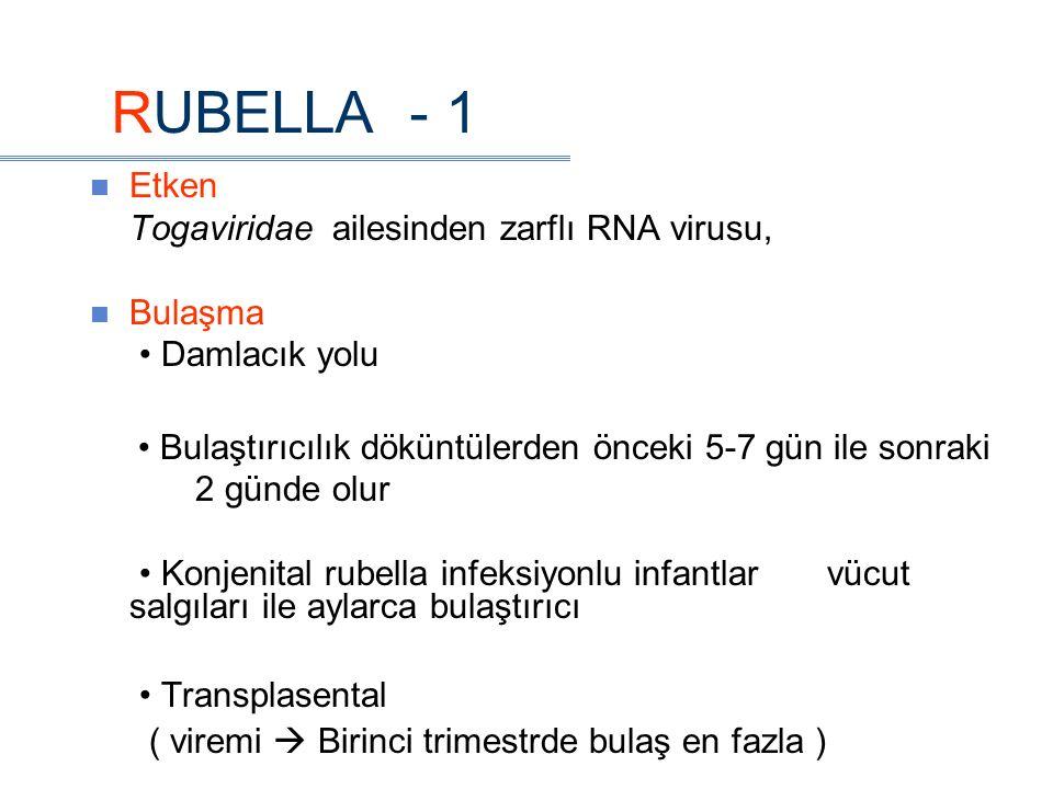 RUBELLA - 1 Etken Togaviridae ailesinden zarflı RNA virusu, Bulaşma Damlacık yolu Bulaştırıcılık döküntülerden önceki 5-7 gün ile sonraki 2 günde olur Konjenital rubella infeksiyonlu infantlar vücut salgıları ile aylarca bulaştırıcı Transplasental ( viremi  Birinci trimestrde bulaş en fazla )
