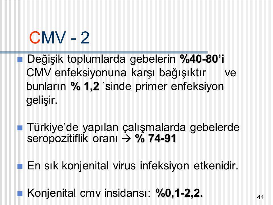CMV - 2 %40-80'i Değişik toplumlarda gebelerin %40-80'i CMV enfeksiyonuna karşı bağışıktır ve % 1,2 bunların % 1,2 'sinde primer enfeksiyon gelişir.
