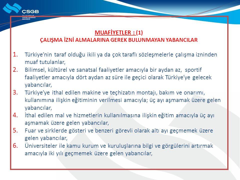 MUAFİYETLER : (1) ÇALIŞMA İZNİ ALMALARINA GEREK BULUNMAYAN YABANCILAR 1. Türkiye'nin taraf olduğu ikili ya da çok taraflı sözleşmelerle çalışma iznind