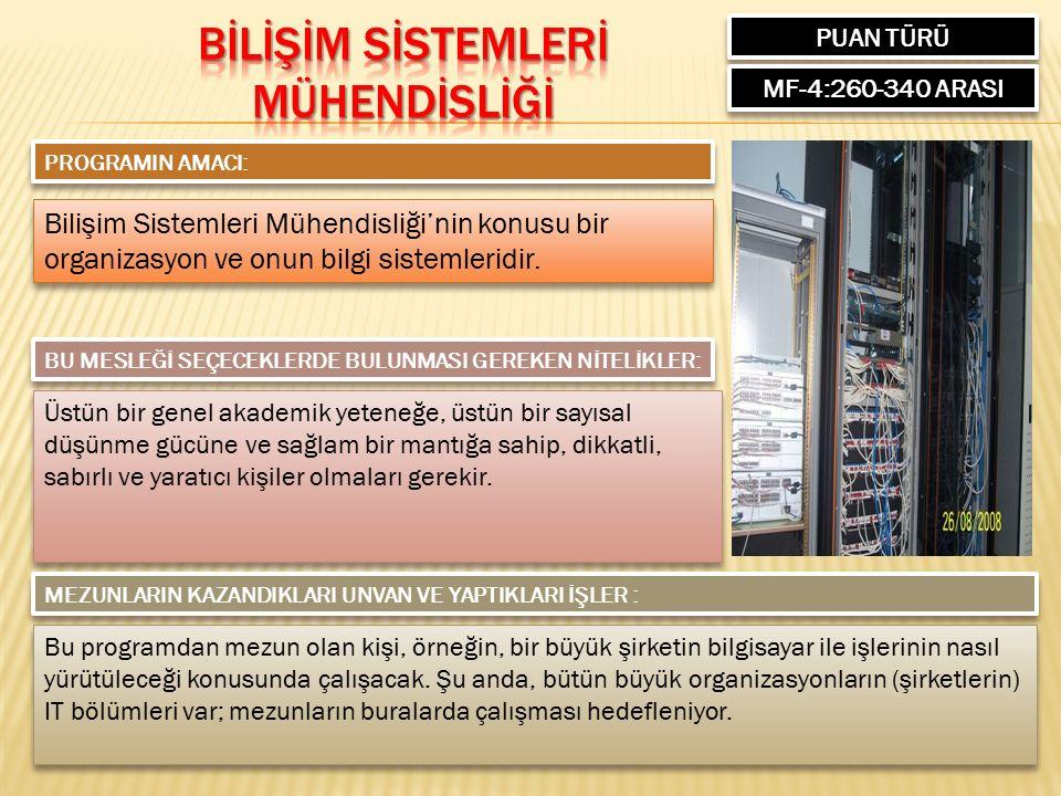 PUAN TÜRÜ MF-4:260-340 ARASI PROGRAMIN AMACI: Bilişim Sistemleri Mühendisliği'nin konusu bir organizasyon ve onun bilgi sistemleridir.