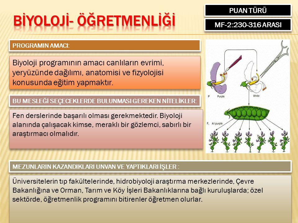 PUAN TÜRÜ MF-2:230-316 ARASI PROGRAMIN AMACI: Biyoloji programının amacı canlıların evrimi, yeryüzünde dağılımı, anatomisi ve fizyolojisi konusunda eğitim yapmaktır.