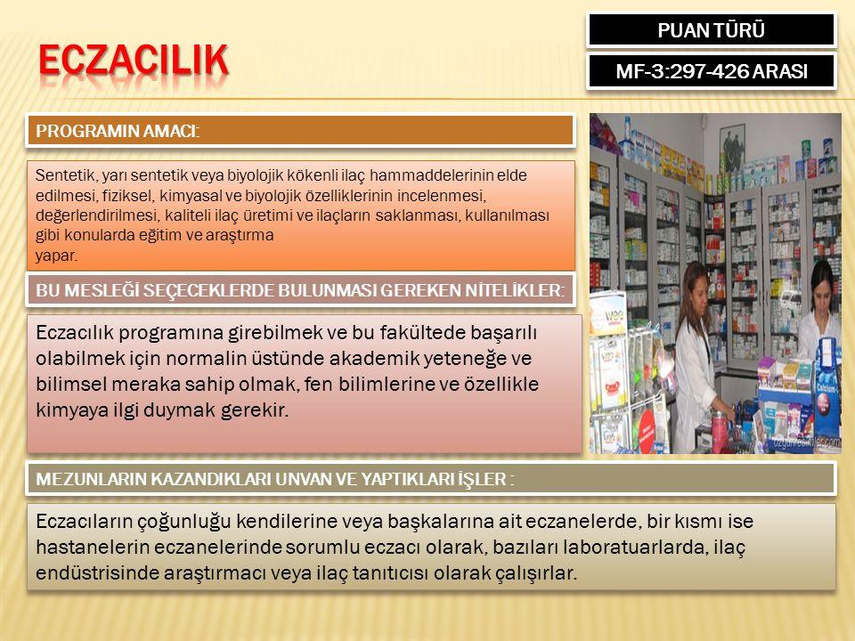 PUAN TÜRÜ MF-3:297-426 ARASI PROGRAMIN AMACI: Sentetik, yarı sentetik veya biyolojik kökenli ilaç hammaddelerinin elde edilmesi, fiziksel, kimyasal ve biyolojik özelliklerinin incelenmesi, değerlendirilmesi, kaliteli ilaç üretimi ve ilaçların saklanması, kullanılması gibi konularda eğitim ve araştırma yapar.