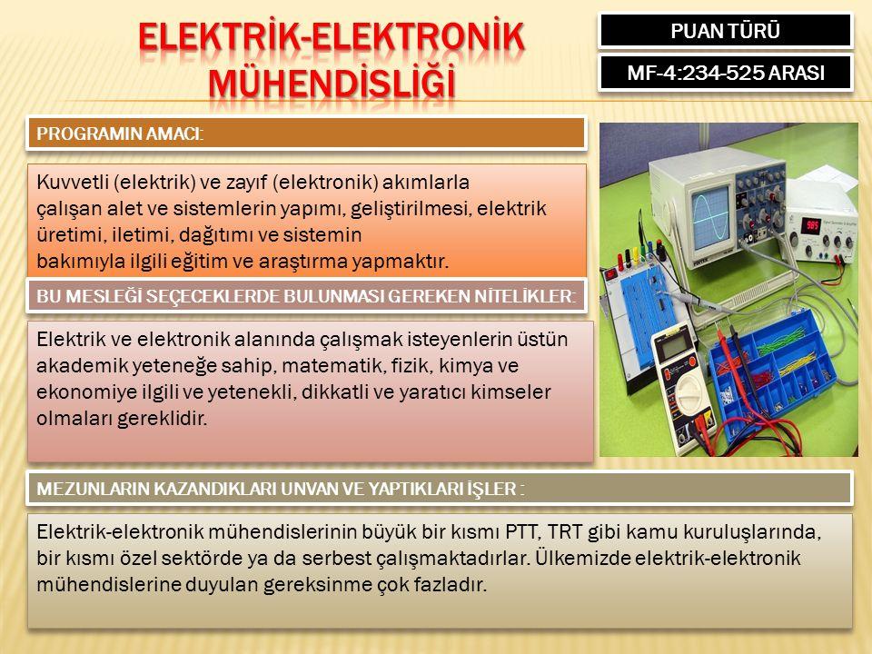PUAN TÜRÜ MF-4:234-525 ARASI PROGRAMIN AMACI: Kuvvetli (elektrik) ve zayıf (elektronik) akımlarla çalışan alet ve sistemlerin yapımı, geliştirilmesi, elektrik üretimi, iletimi, dağıtımı ve sistemin bakımıyla ilgili eğitim ve araştırma yapmaktır.