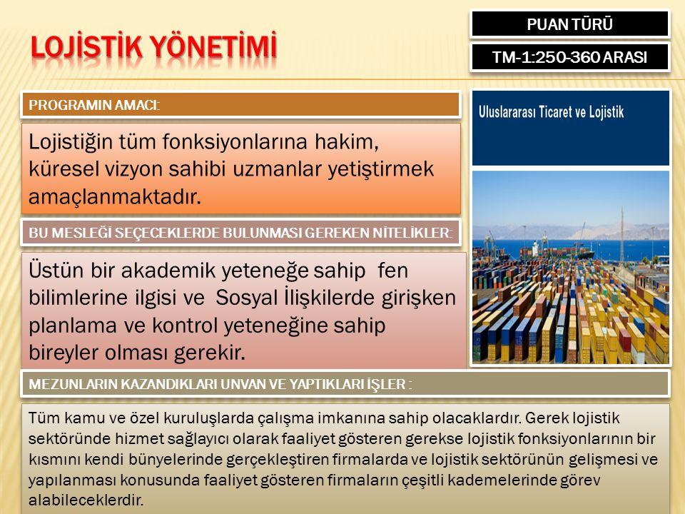PUAN TÜRÜ TM-1:250-360 ARASI PROGRAMIN AMACI: Lojistiğin tüm fonksiyonlarına hakim, küresel vizyon sahibi uzmanlar yetiştirmek amaçlanmaktadır.