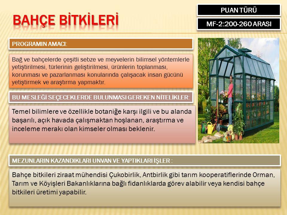 PUAN TÜRÜ MF-1:310-438 ARASI PROGRAMIN AMACI: Matematik Öğretmenliği lisans programı, eğitim fakülteleri tarafından yürütülmektedir.