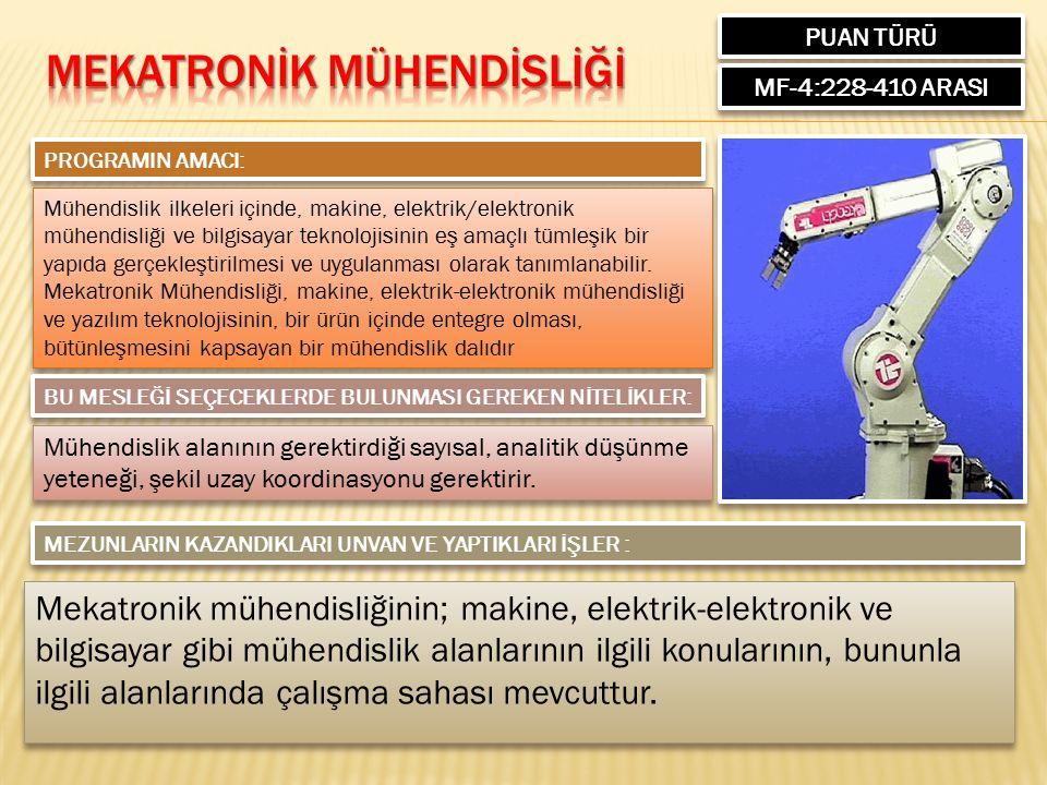 PUAN TÜRÜ MF-4:228-410 ARASI PROGRAMIN AMACI: Mühendislik ilkeleri içinde, makine, elektrik/elektronik mühendisliği ve bilgisayar teknolojisinin eş amaçlı tümleşik bir yapıda gerçekleştirilmesi ve uygulanması olarak tanımlanabilir.