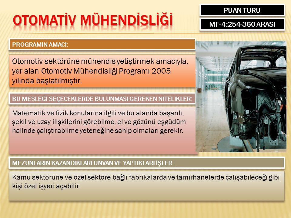 PUAN TÜRÜ MF-4:254-360 ARASI PROGRAMIN AMACI: Otomotiv sektörüne mühendis yetiştirmek amacıyla, yer alan Otomotiv Mühendisliği Programı 2005 yılında başlatılmıştır.
