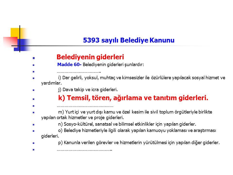 5393 sayılı Belediye Kanunu Belediyenin giderleri Madde 60- Belediyenin giderleri şunlardır: …………………………….. i) Dar gelirli, yoksul, muhtaç ve kimsesizl