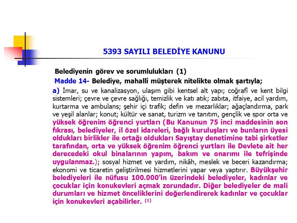 5393 SAYILI BELEDİYE KANUNU Belediyenin görev ve sorumlulukları (2) Madde 14- b) (…) Devlete ait her derecedeki okul binalarının inşaatı ile bakım ve onarımını yapabilir veya yaptırabilir, her türlü araç, gereç ve malzeme ihtiyaçlarını karşılayabilir; sağlıkla ilgili her türlü tesisi açabilir ve işletebilir; mabetlerin yapımı, bakımı, onarımını yapabilir; kültür ve tabiat varlıkları ile tarihî dokunun ve kent tarihi bakımından önem taşıyan mekânların ve işlevlerinin korunmasını sağlayabilir; bu amaçla bakım ve onarımını yapabilir, korunması mümkün olmayanları aslına uygun olarak yeniden inşa edebilir.