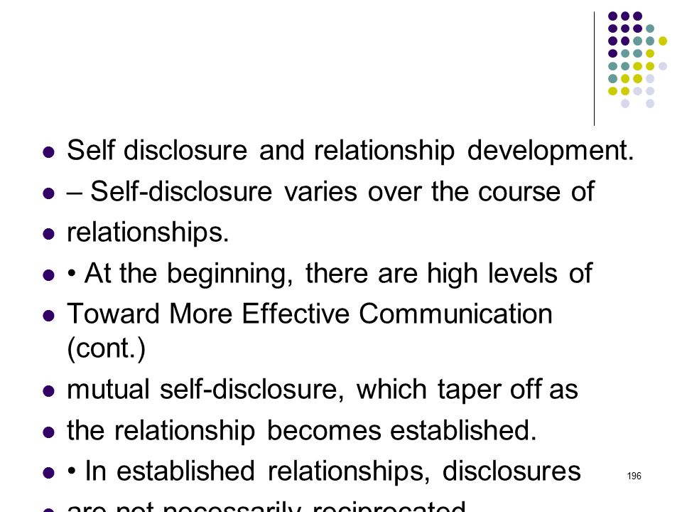 Self-Disclosure – the act of sharing information about yourself with another person – is important to adjustment for several reasons.