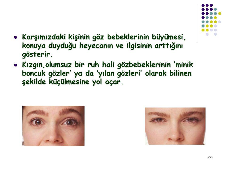 255 Gözler vücudun odak noktası olduklarından ve gözbebekleri de bağımsız hareket ettiğinden gözlerin tüm insan işaretleri arasında en açıklayıcı ve d