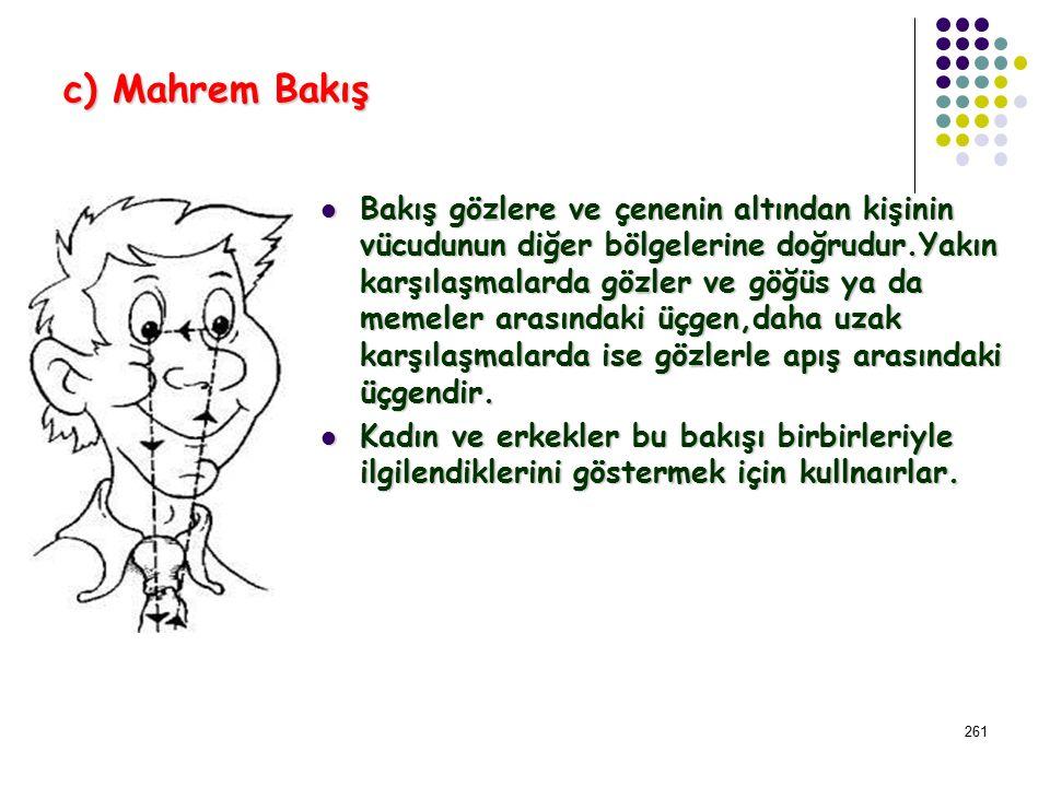260 b) Sosyal Bakış Bakış karşınızdakinin göz bakışı seviyesinin altına düştüğünde sosyal bir ortam oluşur.Birisine bakmayla ilgili deneyler sosyal bi