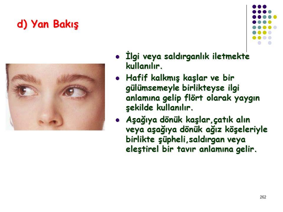 261 c) Mahrem Bakış Bakış gözlere ve çenenin altından kişinin vücudunun diğer bölgelerine doğrudur.Yakın karşılaşmalarda gözler ve göğüs ya da memeler