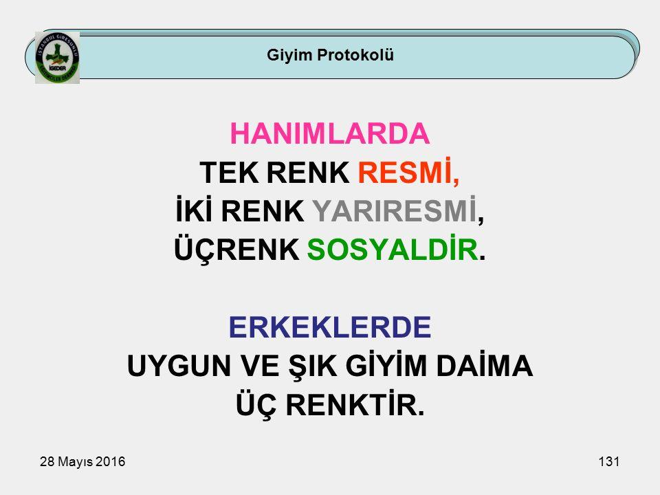 28 Mayıs 2016131 HANIMLARDA TEK RENK RESMİ, İKİ RENK YARIRESMİ, ÜÇRENK SOSYALDİR.