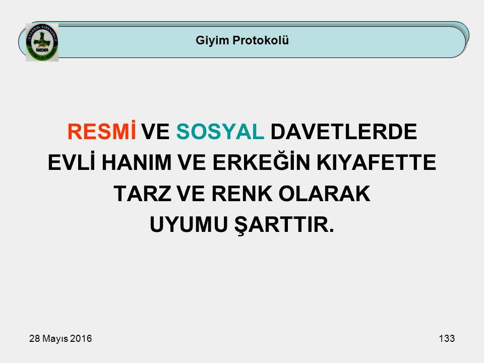 28 Mayıs 2016133 RESMİ VE SOSYAL DAVETLERDE EVLİ HANIM VE ERKEĞİN KIYAFETTE TARZ VE RENK OLARAK UYUMU ŞARTTIR.