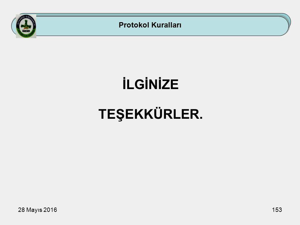 28 Mayıs 2016153 Protokol Kuralları İLGİNİZE TEŞEKKÜRLER.