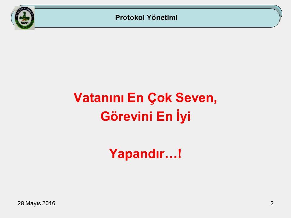 28 Mayıs 201633 Protokol Yönetimi 1.ÖNCELİK- SONRALIK SIRA DÜZENLERİ 2.MAKAM PROTOKOLÜ 3.BAYRAK PROTOKOLÜ 4.TAŞIT PROTOKOLÜ 5.TOPLANTI VE BRİFİNG PROTOKOLÜ 6.TÖREN PROTOKOLÜ 7.KONUŞMA PROTOKOLÜ 8.RESMİ YAZIŞMA PROTOKOLÜ 9.YÖNETSEL DAVRANIŞ PROTOKOLÜ 10.ZİYARET PROTOKOLÜ 11.KONUK PROTOKOLÜ 12.DAVET VE ZİYAFETLER 13.